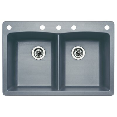 Diamond 33 x 22 Double-Basin Granite Drop/Undermount Residential Kitchen Sink Faucet Drillings: 5 hole, Finish: Metallic Gray