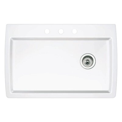 Diamond 33.5 x 22 Single-Basin Granite Drop/Undermount Residential Kitchen Sink Faucet Drillings: 3 hole, Finish: White