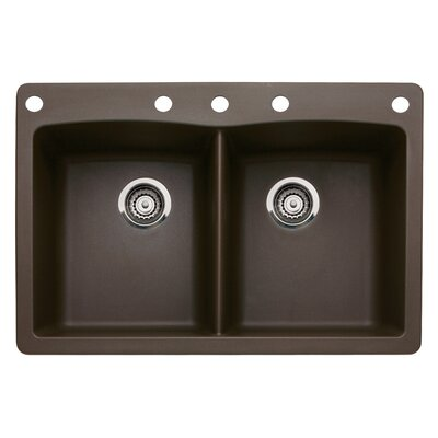 Diamond 33 x 22 Double-Basin Granite Drop/Undermount Residential Kitchen Sink Faucet Drillings: 5 hole, Finish: Cafe Brown