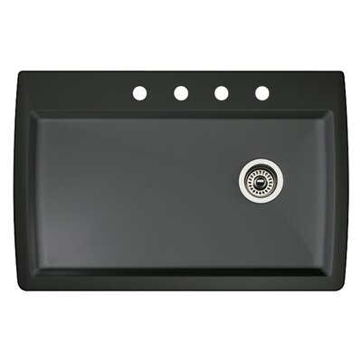 Diamond 33.5 x 22 Single-Basin Granite Drop/Undermount Residential Kitchen Sink Finish: Anthracite, Faucet Drillings: 4 hole