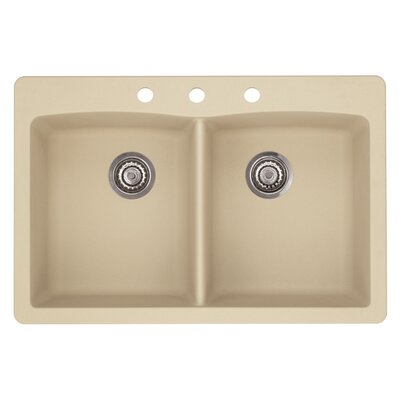 Diamond 33 x 22 Double-Basin Granite Drop/Undermount Residential Kitchen Sink Faucet Drillings: 3 hole, Finish: Biscotti