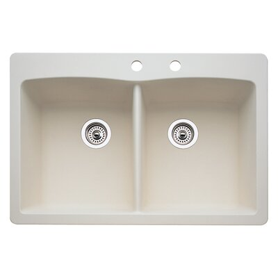 Diamond 33 x 22 Double-Basin Granite Drop/Undermount Residential Kitchen Sink Faucet Drillings: 2 hole, Finish: Biscuit