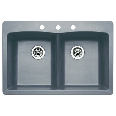 Diamond 33 x 22 Double-Basin Granite Drop/Undermount Residential Kitchen Sink Faucet Drillings: 3 hole, Finish: Metallic Gray