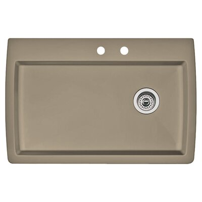 Diamond 33.5 x 22 Single-Basin Granite Drop/Undermount Residential Kitchen Sink Finish: Truffle, Faucet Drillings: 2 hole