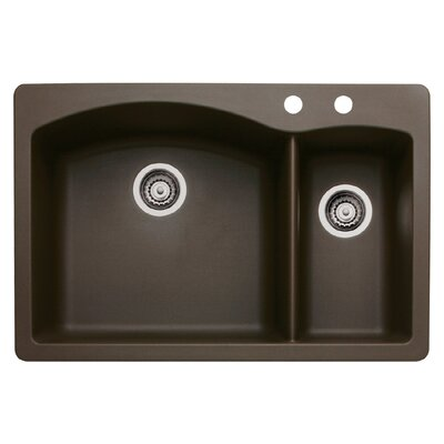 Diamond 33 x 22 Double-Basin Granite Drop/Undermount Residential Kitchen Sink Finish: Cafe Brown, Faucet Drillings: 2 hole