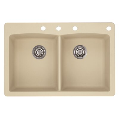 Diamond 33 x 22 Double-Basin Granite Drop/Undermount Residential Kitchen Sink Finish: Biscotti, Faucet Drillings: 4 hole