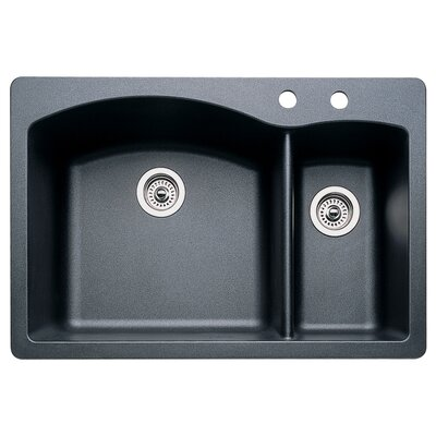 Diamond 33 x 22 Double-Basin Granite Drop/Undermount Residential Kitchen Sink Faucet Drillings: 2 hole, Finish: Anthracite