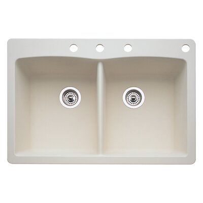 Diamond 33 x 22 Double-Basin Granite Drop/Undermount Residential Kitchen Sink Finish: Biscuit, Faucet Drillings: 4 hole