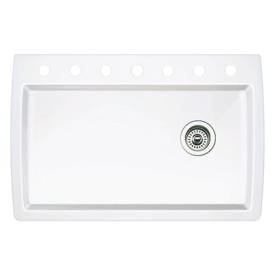 Diamond 33.5 x 22 Single-Basin Granite Drop/Undermount Residential Kitchen Sink Faucet Drillings: 7 hole, Finish: White