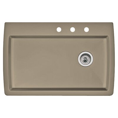 Diamond 33.5 x 22 Single-Basin Granite Drop/Undermount Residential Kitchen Sink Finish: Truffle, Faucet Drillings: 3 hole