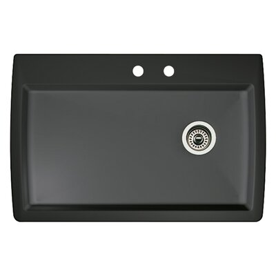 Diamond 33.5 x 22 Single-Basin Granite Drop/Undermount Residential Kitchen Sink Finish: Anthracite, Faucet Drillings: 2 hole
