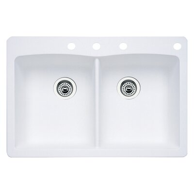 Diamond 33 x 22 Double-Basin Granite Drop/Undermount Residential Kitchen Sink Finish: White, Faucet Drillings: 4 hole