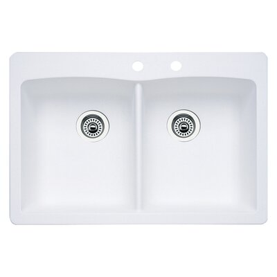 Diamond 33 x 22 Double-Basin Granite Drop/Undermount Residential Kitchen Sink Finish: White, Faucet Drillings: 2 hole