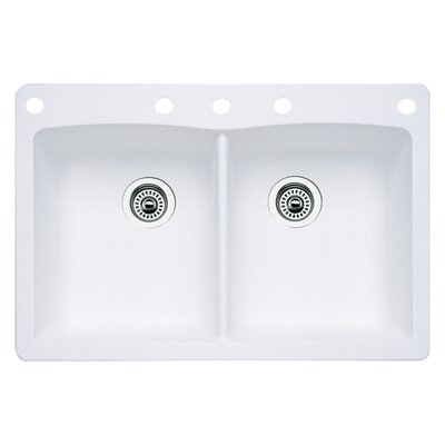 Diamond 33 x 22 Double-Basin Granite Drop/Undermount Residential Kitchen Sink Faucet Drillings: 5 hole, Finish: White