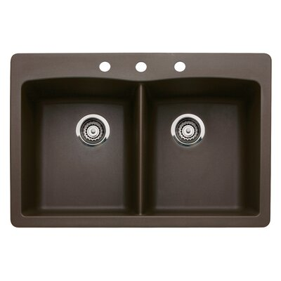 Diamond 33 x 22 Double-Basin Granite Drop/Undermount Residential Kitchen Sink Faucet Drillings: 3 hole, Finish: Cafe Brown