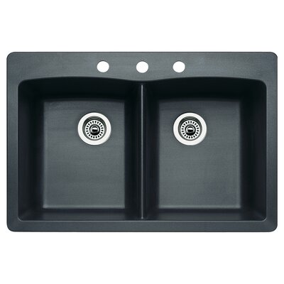 Diamond 33 x 22 Double-Basin Granite Drop/Undermount Residential Kitchen Sink Faucet Drillings: 3 hole, Finish: Anthracite