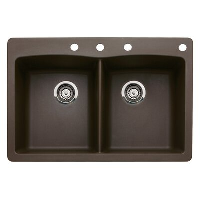 Diamond 33 x 22 Double-Basin Granite Drop/Undermount Residential Kitchen Sink Faucet Drillings: 4 hole, Finish: Cafe Brown