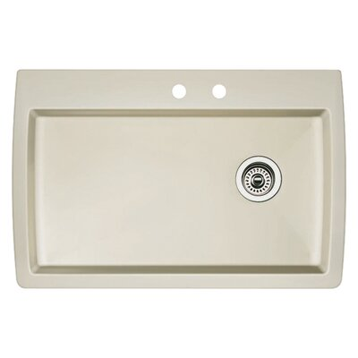 Diamond 33.5 x 22 Single-Basin Granite Drop/Undermount Residential Kitchen Sink Finish: Biscuit, Faucet Drillings: 2 hole
