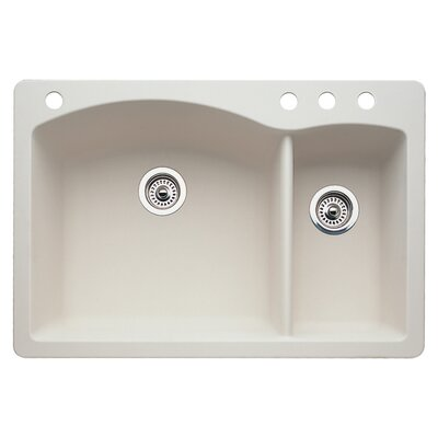 Diamond 33 x 22 Double-Basin Granite Drop/Undermount Residential Kitchen Sink Faucet Drillings: 4 hole, Finish: Biscuit