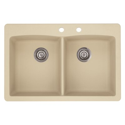 Diamond 33 x 22 Double-Basin Granite Drop/Undermount Residential Kitchen Sink Finish: Biscotti, Faucet Drillings: 2 hole