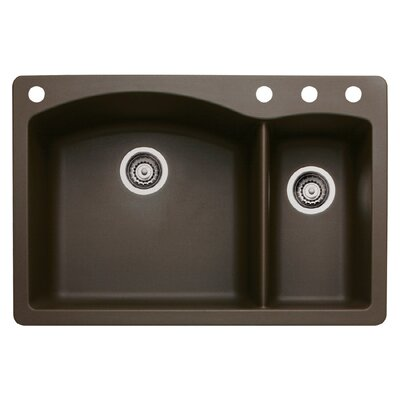Diamond 33 x 22 Double-Basin Granite Drop/Undermount Residential Kitchen Sink Finish: Cafe Brown, Faucet Drillings: 4 hole