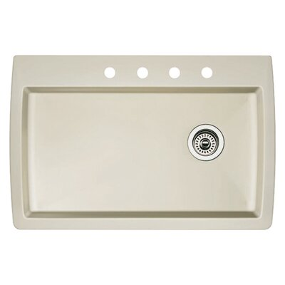 Diamond 33.5 x 22 Single-Basin Granite Drop/Undermount Residential Kitchen Sink Finish: Biscuit, Faucet Drillings: 4 hole