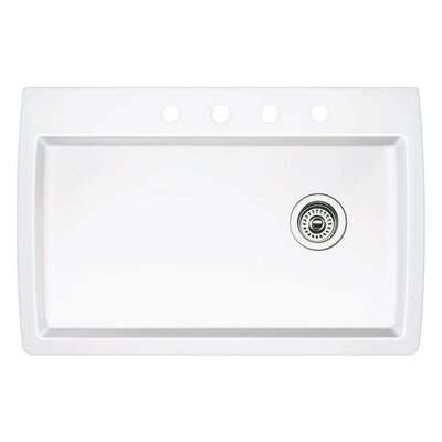 Diamond 33.5 x 22 Single-Basin Granite Drop/Undermount Residential Kitchen Sink Faucet Drillings: 4 hole, Finish: White