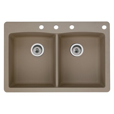 Diamond 33 x 22 Double-Basin Granite Drop/Undermount Residential Kitchen Sink Finish: Truffle, Faucet Drillings: 4 hole