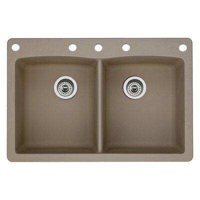 Diamond 33 x 22 Double-Basin Granite Drop/Undermount Residential Kitchen Sink Finish: Truffle, Faucet Drillings: 5 hole
