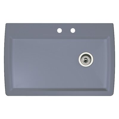 Diamond 33.5 x 22 Single-Basin Granite Drop/Undermount Residential Kitchen Sink Finish: Metallic Gray, Faucet Drillings: 2 hole