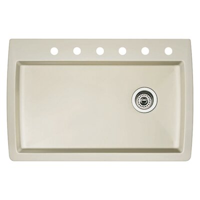 Diamond 33.5 x 22 Single-Basin Granite Drop/Undermount Residential Kitchen Sink Finish: Biscuit, Faucet Drillings: 6 hole
