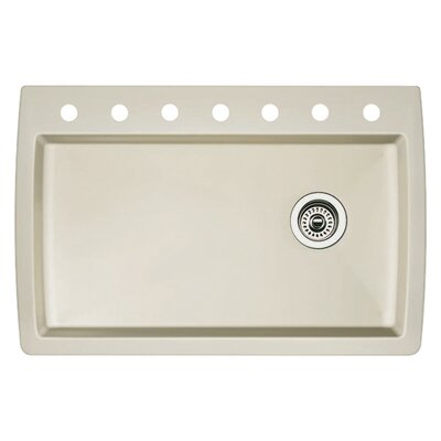 Diamond 33.5 x 22 Single-Basin Granite Drop/Undermount Residential Kitchen Sink Finish: Biscuit, Faucet Drillings: 7 hole