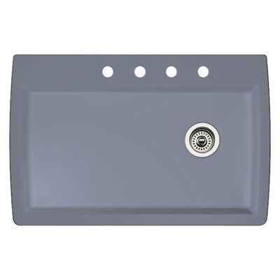 Diamond 33.5 x 22 Single-Basin Granite Drop/Undermount Residential Kitchen Sink Faucet Drillings: 4 hole, Finish: Metallic Gray