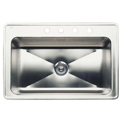Magnum 33 x 22 Single-Basin Drop Residential Kitchen Sink Finish: Stainless Steel, Faucet Drillings: 4 hole