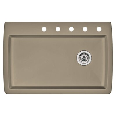 Diamond 33.5 x 22 Single-Basin Granite Drop/Undermount Residential Kitchen Sink Finish: Truffle, Faucet Drillings: 5 hole