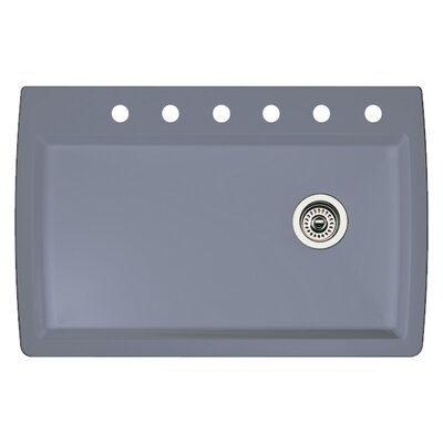 Diamond 33.5 x 22 Single-Basin Granite Drop/Undermount Residential Kitchen Sink Faucet Drillings: 6 hole, Finish: Metallic Gray