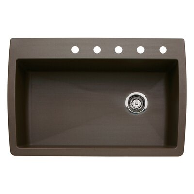 Diamond 33.5 x 22 Single-Basin Granite Drop/Undermount Residential Kitchen Sink Faucet Drillings: 5 hole, Finish: Cafe Brown