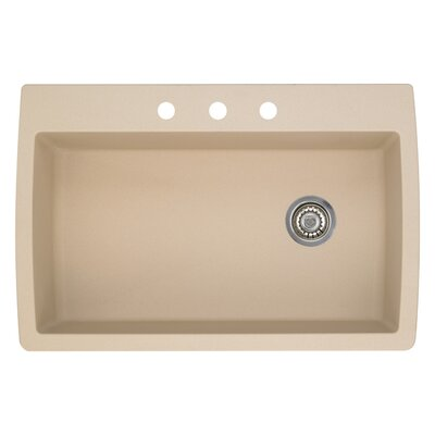 Diamond 33.5 x 22 Single-Basin Granite Drop/Undermount Residential Kitchen Sink Faucet Drillings: 3 hole, Finish: Biscotti