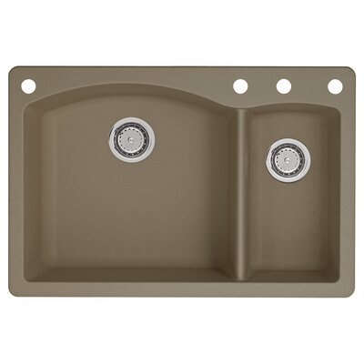 Diamond 33 x 22 Double-Basin Granite Drop/Undermount Residential Kitchen Sink Faucet Drillings: 4 hole, Finish: Truffle
