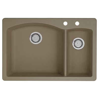 Diamond 33 x 22 Double-Basin Granite Drop/Undermount Residential Kitchen Sink Faucet Drillings: 2 hole, Finish: Truffle