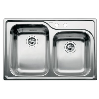 Supreme 33 x 22 Double-Basin Drop-in Residential Kitchen Sink Faucet Drillings: 2 hole