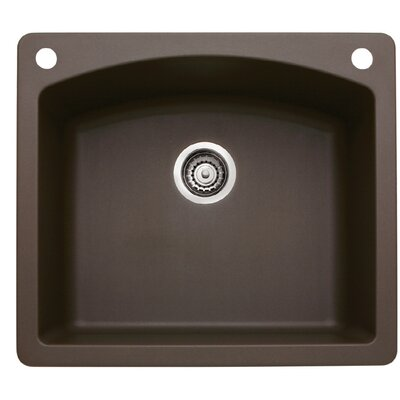 Diamond 25 x 22 Single-Basin Granite Drop/Undermount Residential Kitchen Sink Finish: Cafe Brown