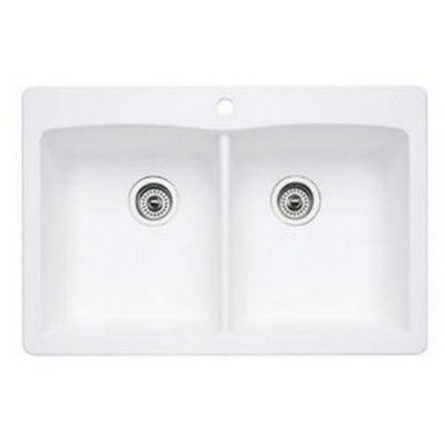 Diamond 33 x 22 Equal Double Bowl Drop-In Kitchen Sink Finish: White