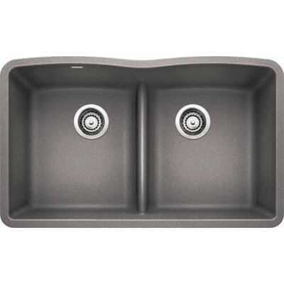Diamond 32 x 19.25 Equal Double Low Divide Undermount Kitchen Sink Finish: Metallic Grey