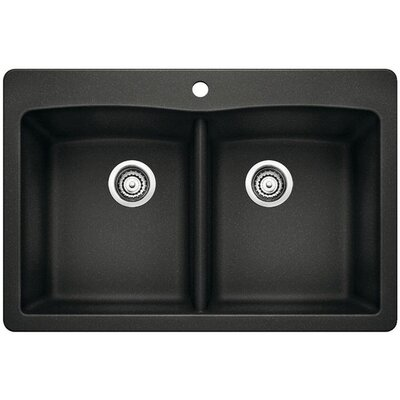Diamond 33 x 22 Equal Double Bowl Drop-In Kitchen Sink Finish: Anthracite