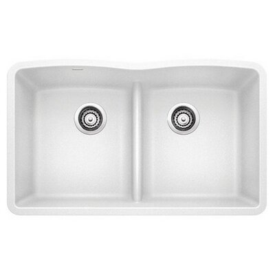 Diamond 32 x 19.25 Equal Double Low Divide Undermount Kitchen Sink Finish: White