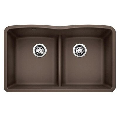 Diamond 32 x 19.25 Equal Double Low Divide Undermount Kitchen Sink Finish: Cafe Brown