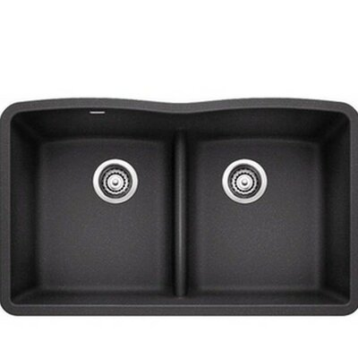 Diamond 32 x 19.25 Equal Double Low Divide Undermount Kitchen Sink Finish: Anthracite
