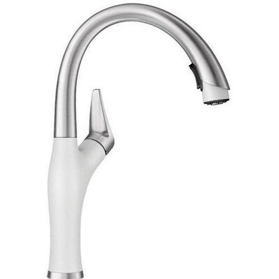 Artona Single Handle Deck Mounted Kitchen Faucet with Pull Down Spray Finish: White