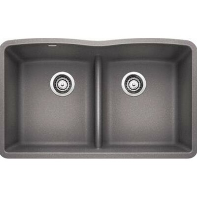 Diamond 32 x 19.25 Equal Double Low Divide Undermount Kitchen Sink Finish: Cinder